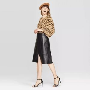 A New Day High-Rise A Line Faux Leather Skirt Sz 2